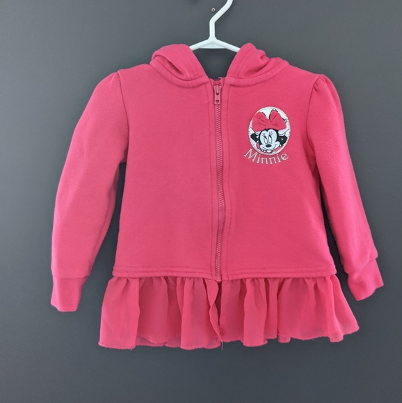 Bright pink Disney Minnie Mouse zip up hoodie
